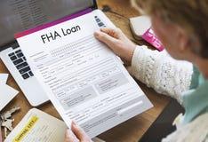 FHA lånfinans intecknar formapplikationbegrepp Royaltyfria Foton