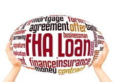 FHA loan word cloud sphere concept. On white background royalty free stock image
