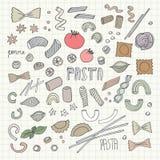 FHand- drawn pasta set. Vector illustration Royalty Free Stock Photo
