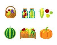 Fharvest autumn food in wicker basket vector illustration Royalty Free Stock Photo