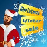 Fhather-kerstman Claus De verkoop van Kerstmis Royalty-vrije Stock Fotografie