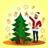 Fhather-kerstman Claus en Kerstmisboom Stock Afbeelding