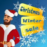 Fhather-Santa Claus. Christmas sale Royalty Free Stock Photography