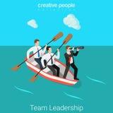 Führung im flachen Vektor 3d Geschäftsteam Stunden-Führers isometrisch Stockbild