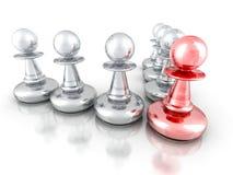 Führungs-Konzept mit rotem Pfand schicken anderen Team Group nach Stockbild