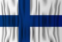 Fińska realistyczna chorągwiana wektorowa ilustracja Finlandia niezależność Zdjęcie Stock