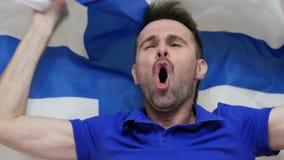 Fiński fan Świętuje trzymający flagę Finlandia zbiory