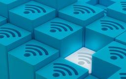 FI-drahtlosen Netzwerks Wi-3D Symbole Stockbild