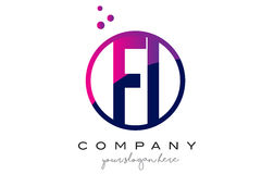 FI F I Circle Letter Logo Design with Purple Dots Bubbles. FI F I Circle Letter Logo Design with Purple Magenta Dots Bubbles Vector Illustration Royalty Free Stock Photography