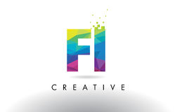 FI F I Colorful Letter Origami Triangles Design Vector. Stock Photography