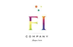 Fi f i  creative rainbow colors alphabet letter logo icon Royalty Free Stock Image