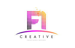 FI F I Letter Logo Design with Magenta Dots and Swoosh. FI F I Dots Letter Logo Design with Magenta Bubble Circles and Swoosh Stock Photo