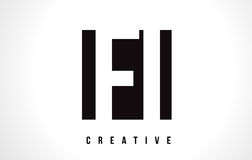 FI F I White Letter Logo Design with Black Square. Stock Image