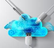 Fiação da computação da nuvem Imagem de Stock Royalty Free