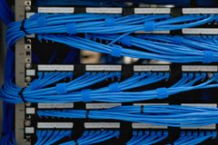 Fiação e trabalhos em rede do cabo de LAN no centro de dados Foto de Stock Royalty Free