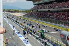 FIA управляет историческим чемпионатом Формула-1 в цепи de Барселоне, Каталонии, Испании Стоковые Фотографии RF