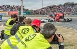 2015 FIA European Truck Racing Championship De fotografen schieten Royalty-vrije Stock Afbeelding