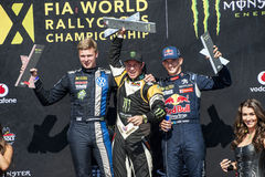 FIA WORLD RALLYCROSS CHAMPIONSHIP. PETTER SOLBERG, TIMMY HANSEN AND JOHAN KRISTOFFERSSON Royalty Free Stock Images
