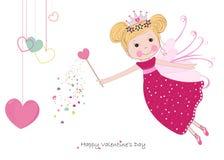 Fiaba sveglia con la cartolina d'auguri felice d'attaccatura di San Valentino dei cuori Immagini Stock Libere da Diritti