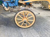 Fiacre, cart on the street background. Wood royalty free stock images