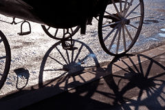 Fiaker wheel with shadow Stock Photo