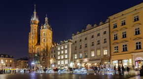 Fiakers in Krakow. Fiaker waiting for tourists on the Krakow Main Market Square Stock Image