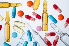 Fiale e pillole Fotografia Stock
