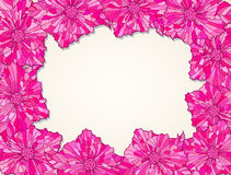 Fialka-frame-contour-pink. Frame of contour flower heads with leaves Royalty Free Stock Image