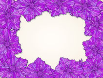 Fialka-frame-contour-purple. Frame of contour flower heads with leaves Stock Photos