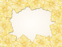 Fialka frame contour yellow. Frame of contour flower heads with leaves Stock Photo