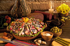 Fiambre with morron yellow Chilli. Fiambre, a traditional festival dish for All Saints Day Stock Image