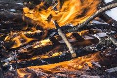 Fiamma ardente di grande fuoco Fotografia Stock Libera da Diritti
