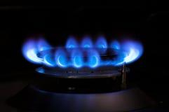 Fiamma blu del gas Fotografia Stock