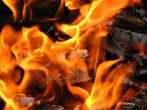 Fiamma bruciante del fuoco di accampamento Fotografie Stock