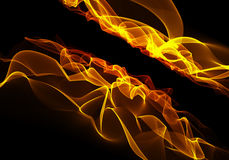 Fiamma bruciante del fuoco su fondo nero su grande risoluzione Immagini Stock Libere da Diritti
