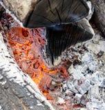 Fiamma bruciante i carboni nella griglia Fotografia Stock