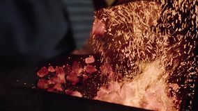 Fiamma Burning Fondo del fuoco di accampamento Carboni caldi Fuoco Carboni del fuoco di legno, fondo rosso caldo dei carboni Carb video d archivio