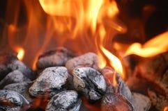 Fiamma del carbone di legna fotografia stock