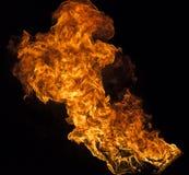 Fiamma del fuoco su fondo nero Fotografia Stock Libera da Diritti