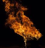 Fiamma del fuoco su fondo nero Immagine Stock Libera da Diritti