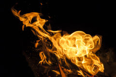 Fiamma del fuoco su fondo nero Fotografia Stock