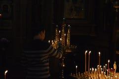 Fiamma della candela della cera immagini stock libere da diritti