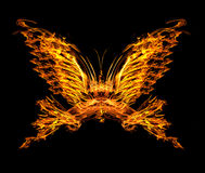 Fiamma di forma della farfalla isolata sul nero illustrazione di stock