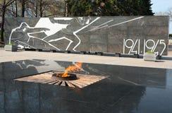 Fiamma eterna e complesso commemorativo creato in onore dei cittadini di Nižnij Novgorod che sono morto nella seconda guerra mon fotografie stock libere da diritti
