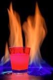 Fiamma rossa del cocktail Fotografie Stock