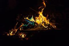 Fiamme arancio e blu di fuoco Fotografia Stock