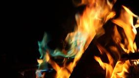 Fiamme arancio e blu di fuoco stock footage