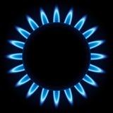 Fiamme blu del bruciatore a gas Fotografia Stock