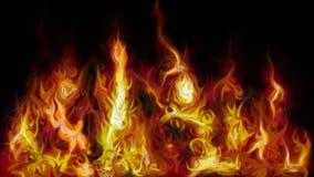 Fiamme brucianti del fuoco rosso su fondo scuro immagini stock libere da diritti