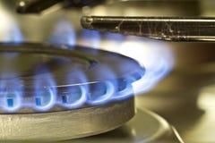 Fiamme della stufa di gas Immagini Stock